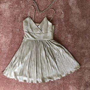 Armani exchange silver pleated mini dress 0